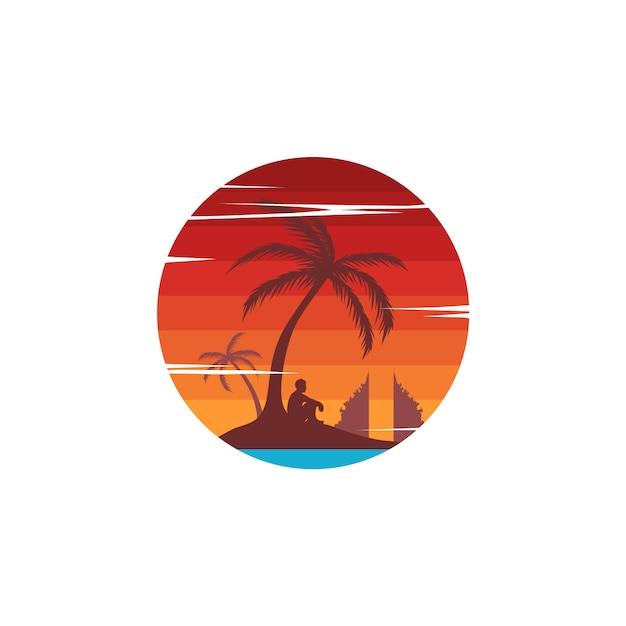 Vacanze estive di tema del segno di viaggio di vacanza della spiaggia Vettore Premium