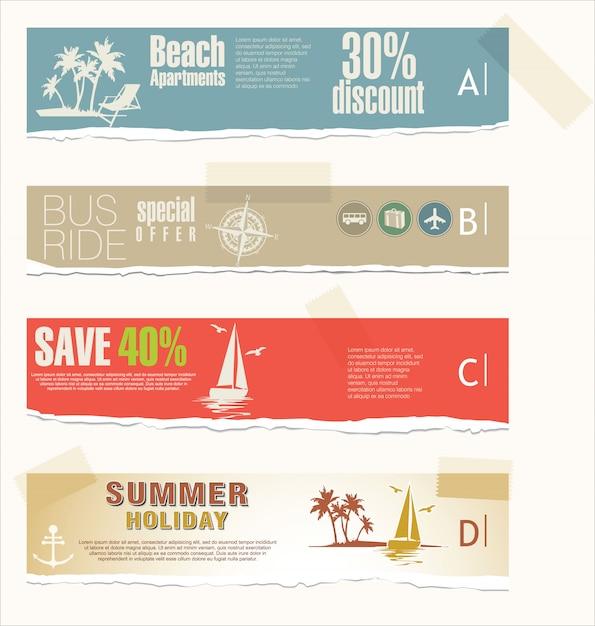 Vacanze estive e banner di viaggio Vettore Premium