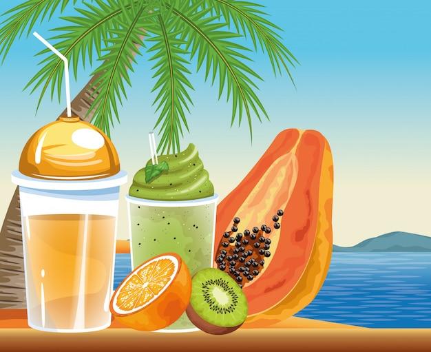 Vacanze estive e spiaggia in stile cartoon Vettore gratuito