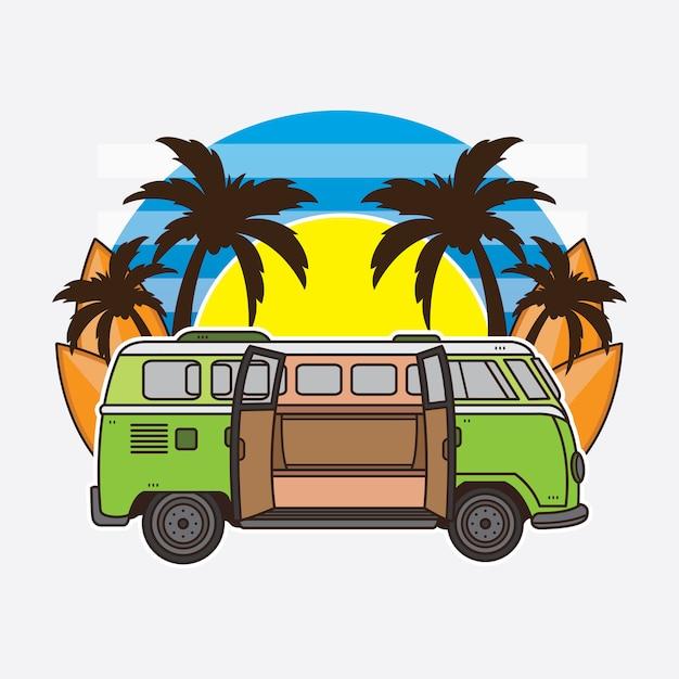 Vacanze estive in auto e surf Vettore Premium