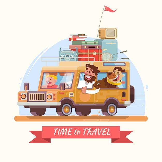 Vacanze estive in famiglia auto arancione con valigie for Vacanze in famiglia