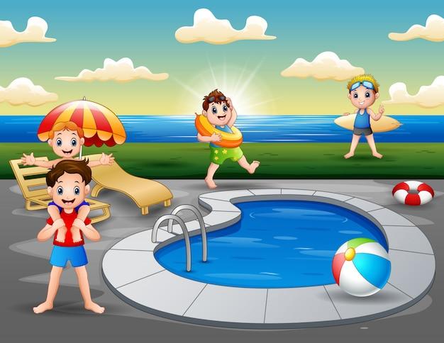 Vacanze estive in piscina sulla spiaggia Vettore Premium