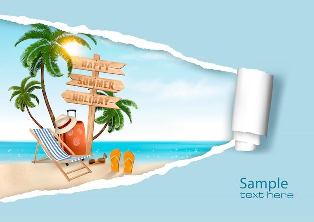 Vacanze estive sullo sfondo. . Vettore Premium