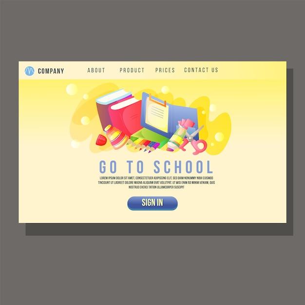 Vai a landing page dell'istruzione scolastica oggetto carino per studenti Vettore Premium