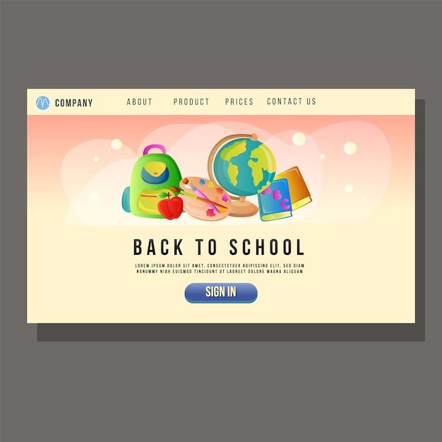 Vai alla pagina di destinazione dell'istruzione scolastica oggetto scuola studente Vettore Premium