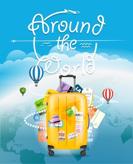 Vai concetto di viaggio. borsa da viaggio e diversi elementi turistici Vettore Premium