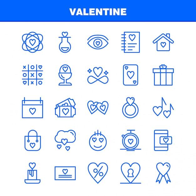 Valentine line icon pack. icone della boccetta, amore, romantico, valentine, amore, regalo, cuore, biglietto di s. valentino Vettore gratuito