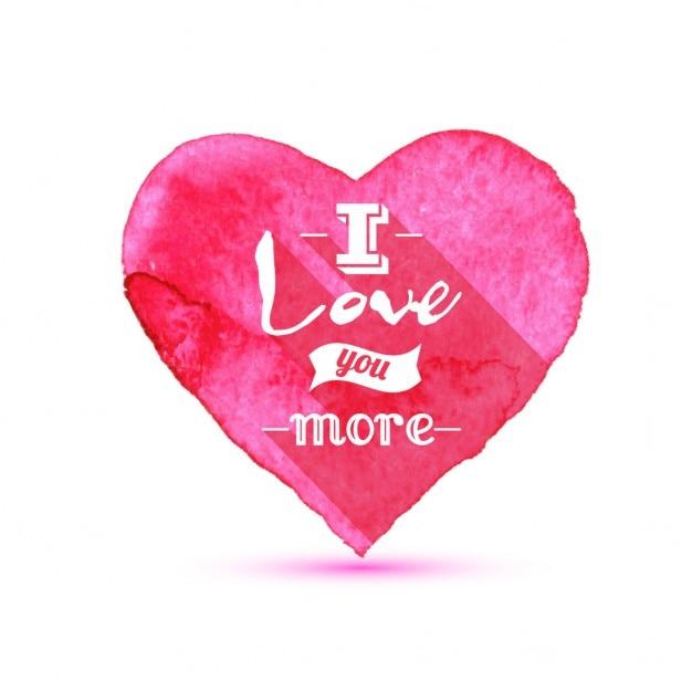 Valentino sfondo acquerello cuori con scritte Vettore gratuito