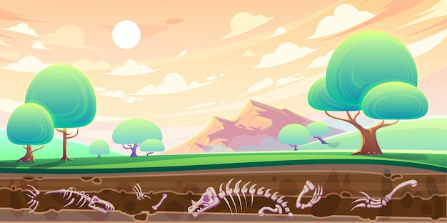 Valle e sezione trasversale del suolo con fossili Vettore gratuito
