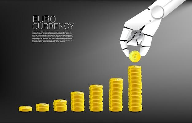 Valuta della moneta della pila della mano del robot euro e buon fondo del grafico di affari. Vettore Premium