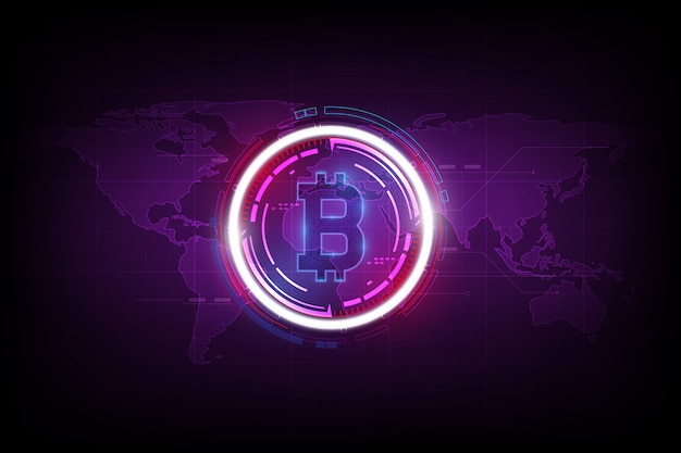 Valuta digitale bitcoin e ologramma del globo mondiale, denaro digitale futuristico e concetto di rete mondiale della tecnologia. Vettore Premium