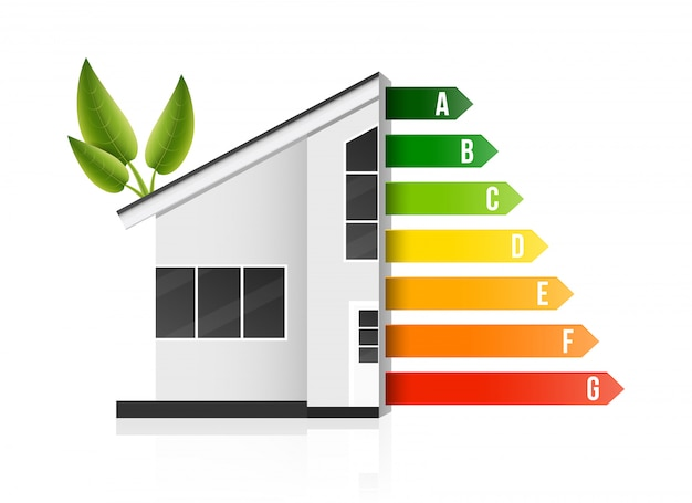Valutazione di efficienza energetica domestica, casa ecologica intelligente. Vettore Premium