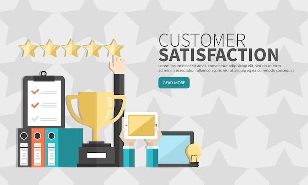 Valutazione sull'illustrazione del servizio clienti Vettore Premium