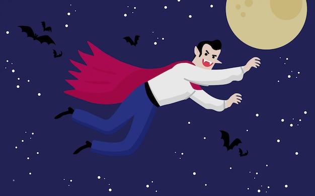 Vampire flying in the night illustrazione Vettore Premium