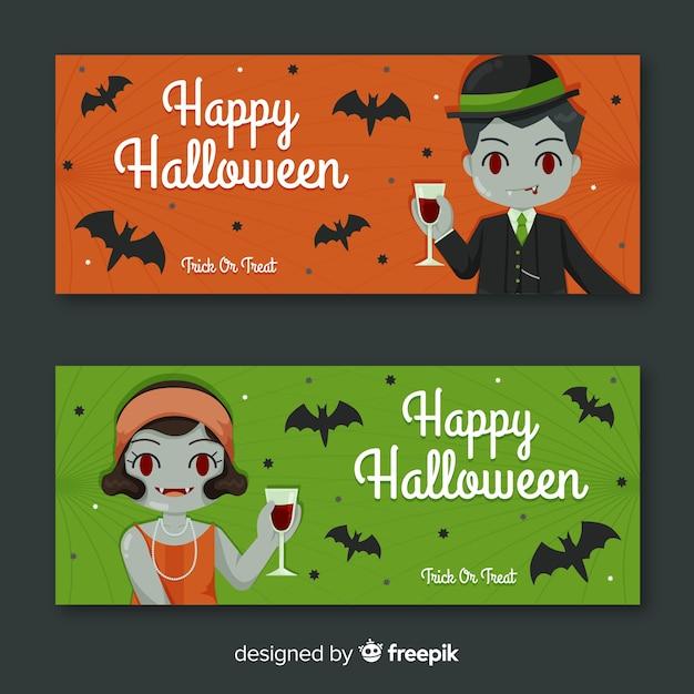 Vampire lady and gentleman banner di halloween Vettore gratuito