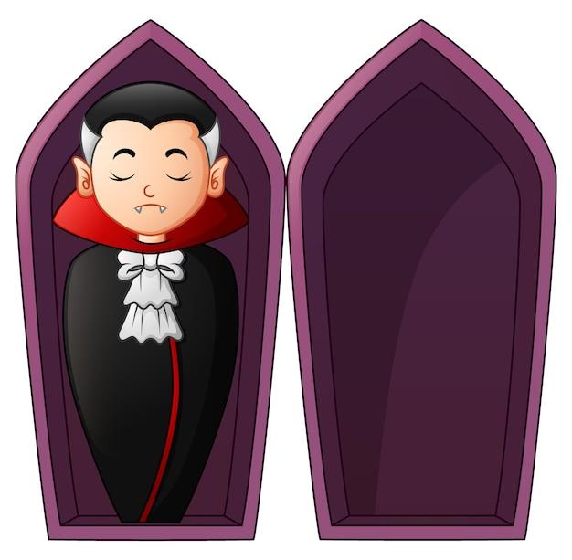 Vampiro dei cartoni animati in bare aperte scaricare vettori premium
