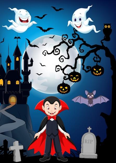 Vampiro di cartone animato con sfondo di halloween scaricare