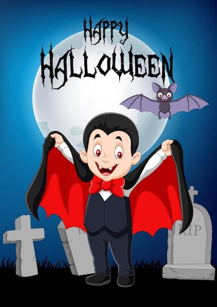 Vampiro divertente cartone animato con sfondo di halloween