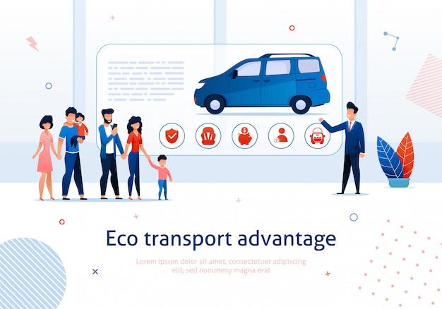 Vantaggio di trasporto ecologico. presentazione del rappresentante all'illustrazione di vettore del furgoncino del ecologico della famiglia del fumetto Vettore Premium