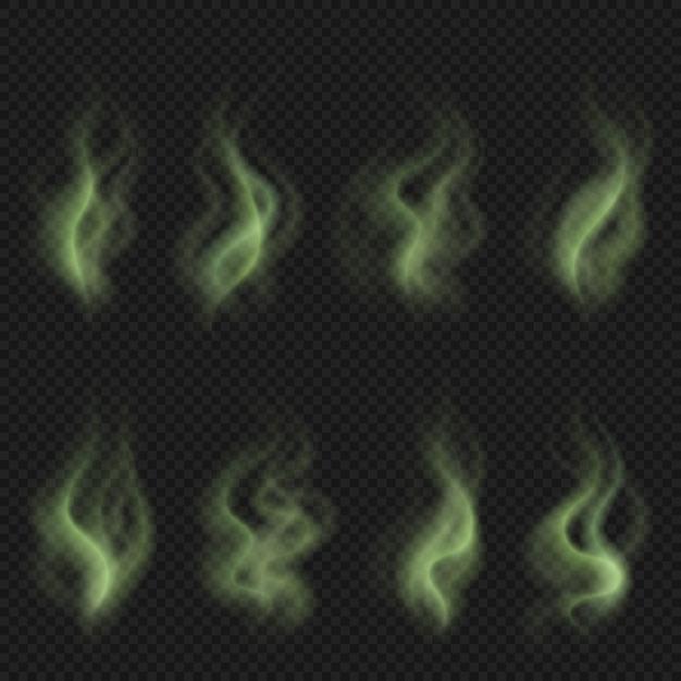 Vapore cattivo odore, fumo puzzolente tossico verde, set di nuvole di odore sporco Vettore Premium