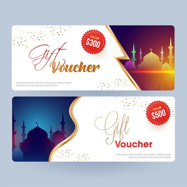 Vari design del buono regalo o layout del coupon con silhouette Vettore Premium