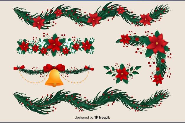 Disegni Di Natale Ghirlande.Vari Disegni Per Ghirlanda Di Natale Vettore Gratis