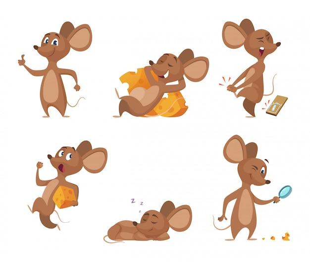 Vari personaggi del mouse in azione pone Vettore Premium