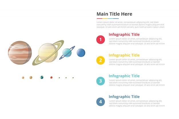 Vari pianeta nel modello di infografica confronto dimensioni galassia con 4 punti di descrizione del testo spazio libero Vettore Premium