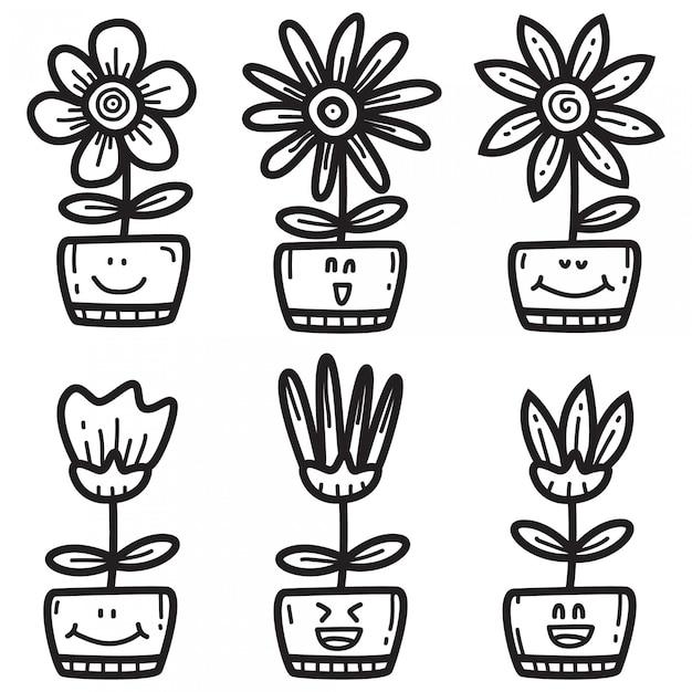 Vari simpatici doodle per fiori Vettore Premium