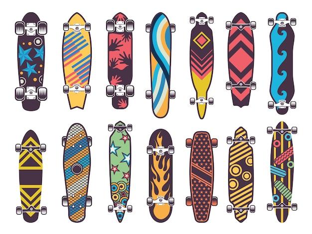Vari skateboard colorati Vettore Premium