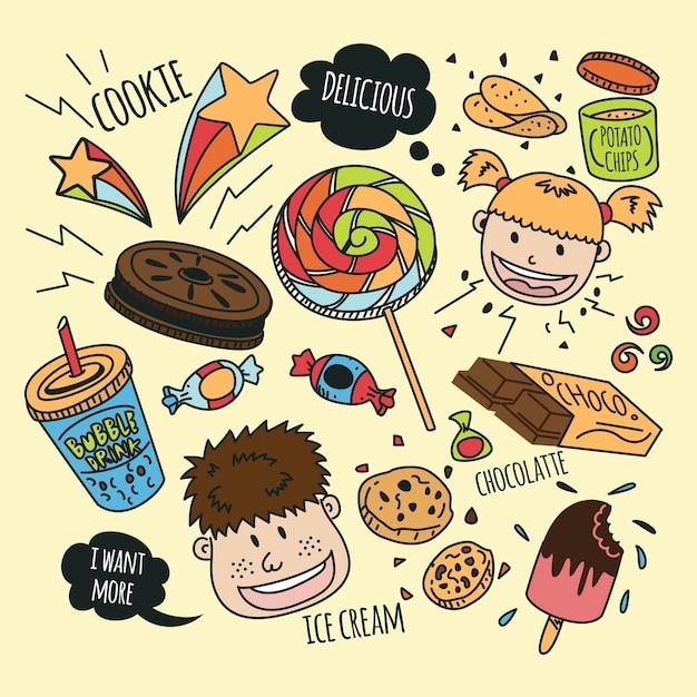 Vari snack con bambini felici in stile doodle Vettore Premium