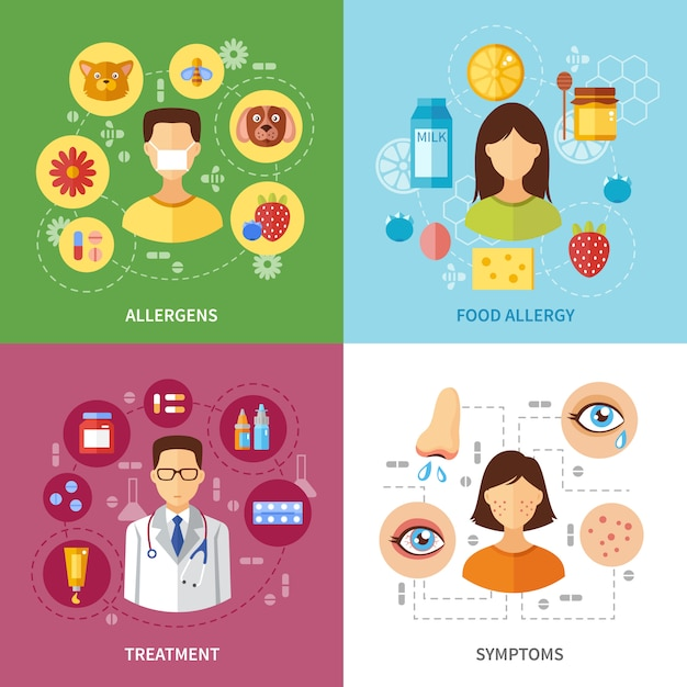 Vari tipi di allergie sintomi Vettore gratuito