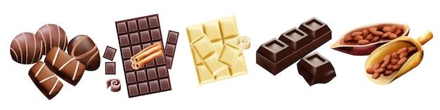 Vari tipi di cioccolato e fave di cacao Vettore gratuito