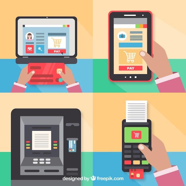 Vari tipi di metodi di pagamento tecnologici Vettore gratuito