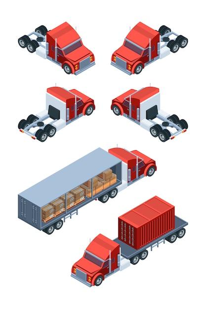 Vari trasporti di merci. immagini di camion isometrici Vettore Premium