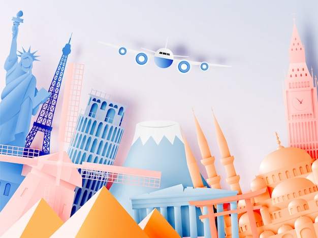 Varie attrazioni di viaggio in stile arte cartacea Vettore Premium