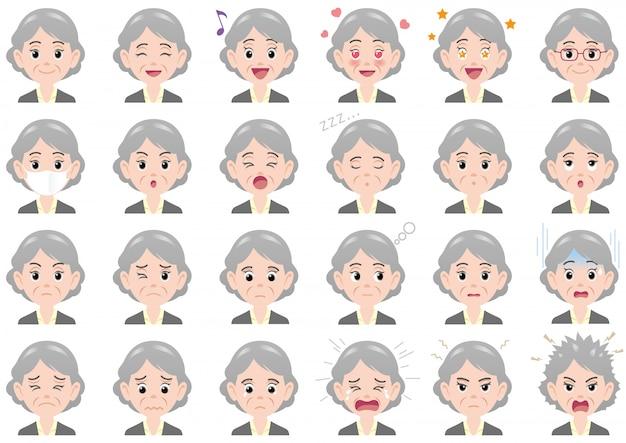 Varie espressioni della donna di affari fissate. caratteri vettoriali isolati Vettore Premium