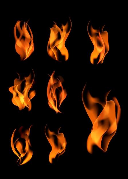Varie fiamme impostate Vettore gratuito