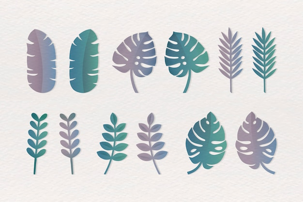 Varie foglie tropicali impostate Vettore gratuito
