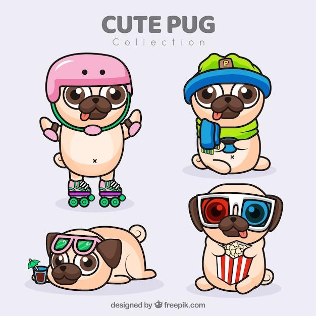 Varie varietà di pugs divertenti Vettore gratuito