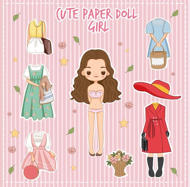 Varietà carino vestito per il vettore ragazza bambola di carta Vettore Premium