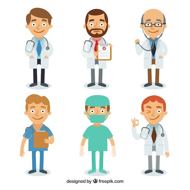 Varietà completa di medici di smiley Vettore gratuito