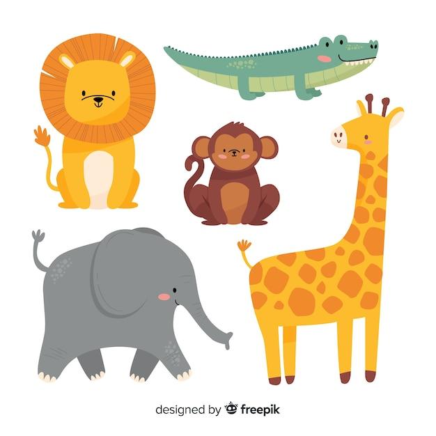 Varietà di animali selvatici nella giungla e nella savana Vettore gratuito