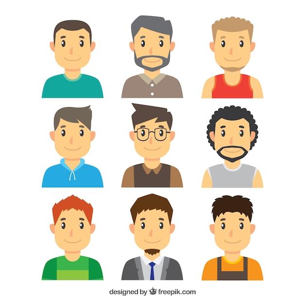 Varietà di avatar di giovani uomini Vettore gratuito