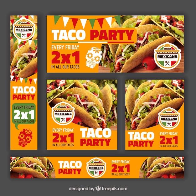 Varietà di banner per offrire ristorante messicano Vettore gratuito