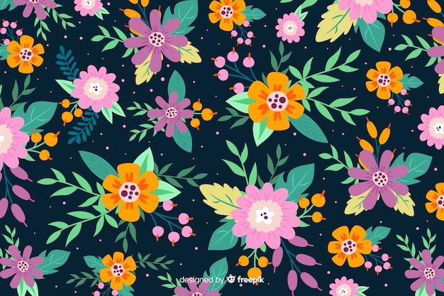 Varietà di bellissimi fiori sfondo Vettore gratuito