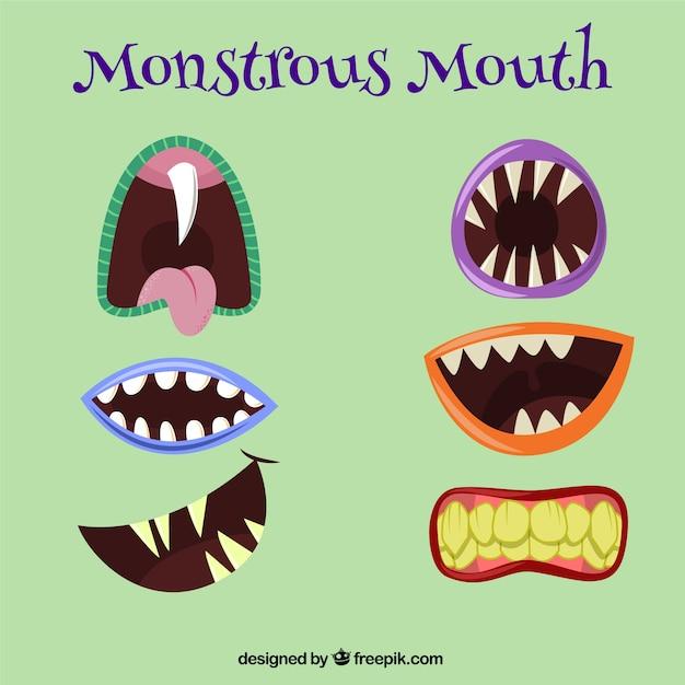 Varietà di bocche mostruose Vettore Premium