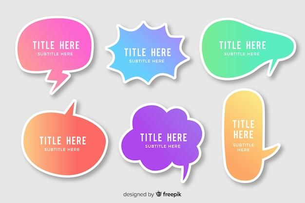 Varietà di bolle di discorso sfumato colorato Vettore gratuito