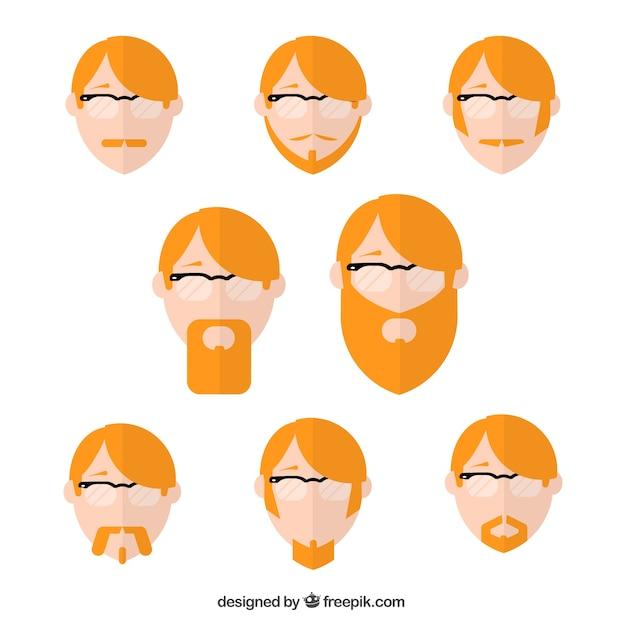 Varietà di capelli rossi avatar uomo scaricare vettori