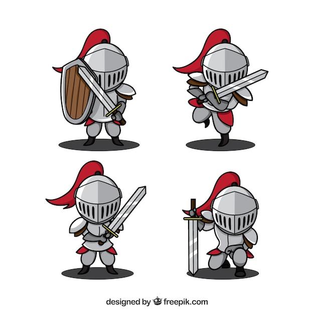 Varietà di cavalieri disegnati a mano Vettore gratuito